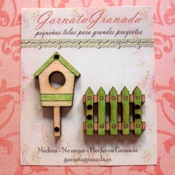 Botón de madera Casa y Cerca