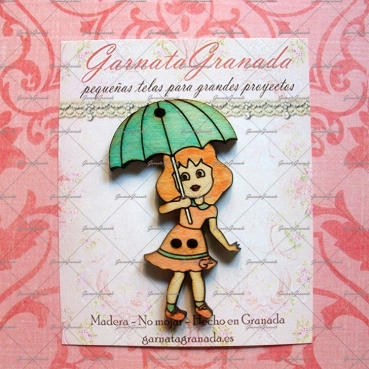 Botón de madera Niña con Paraguas